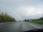 Arc en ciel sur la route entre Rennes et Laval
